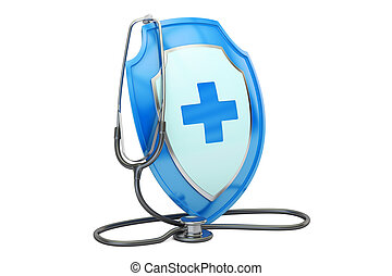 Health insurance concept. Stethoscope with shield. 3D rendering