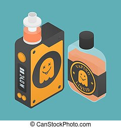 Isometric Icon of Vape device with ghost silhouette....