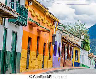 street of colorfoul buildings in colonial old town la candelaria in Bogota