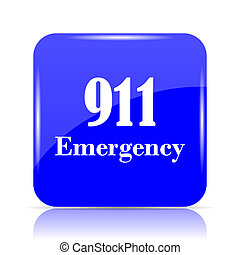 911 Emergency icon, blue website button on white background.