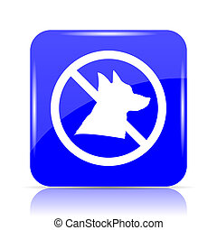 Forbidden dogs icon, blue website button on white...