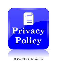 Privacy policy icon, blue website button on white...