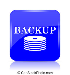 Back-up icon, blue website button on white background.