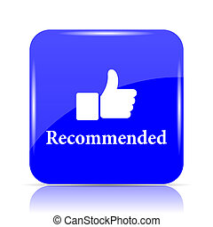 Recommended icon, blue website button on white background.