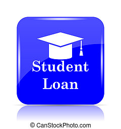 Student loan icon, blue website button on white background.