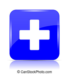 Medical cross icon, blue website button on white background.