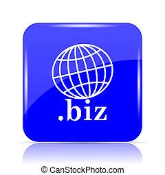 .biz icon, blue website button on white background.