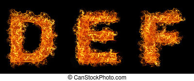 Set of Fire letter D E F on a black background