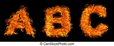 Set of Fire letter A B C - Set of Fire letter ABC on a black...