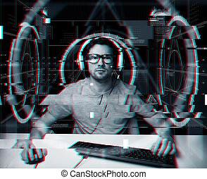man in headset with computer virtual projections -...