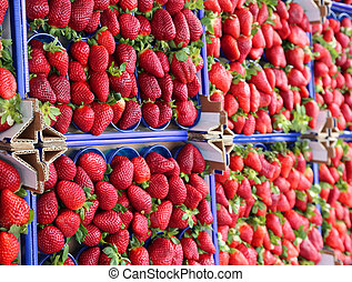 red strawberries for sale in a fruit and vegetable shop -...