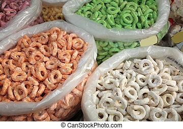 three huge bags of tarallini are typical foods - tarallini...