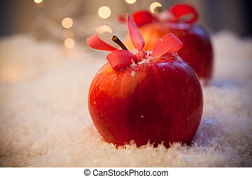 Christmas apples - Red delicious Christmas apples resting in...