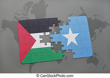 puzzle with the national flag of palestine and somalia on a...