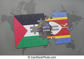 puzzle with the national flag of palestine and swaziland on...
