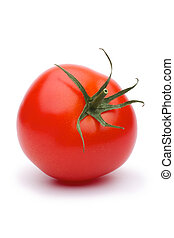 One tomato - Shows a tomato. Isolated on white background.