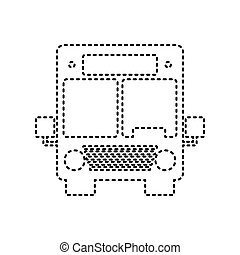 Bus sign illustration. Vector. Black dashed icon on white background. Isolated.
