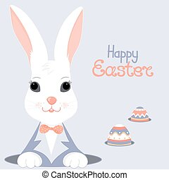 The Easter white rabbit in a blue jacket with a bow looks out of the hole. Paschal eggs in burrows