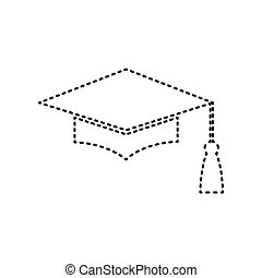 Mortar Board or Graduation Cap, Education symbol. Vector. Black dashed icon on white background. Isolated.