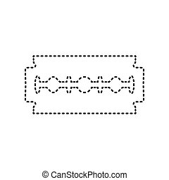 Razor blade sign. Vector. Black dashed icon on white background. Isolated.