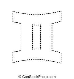 Gemini sign. Vector. Black dashed icon on white background. Isolated.