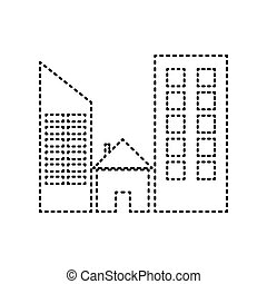 Real estate sign. Vector. Black dashed icon on white background. Isolated.