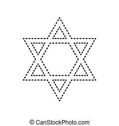 Shield Magen David Star. Symbol of Israel. Vector. Black...