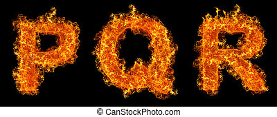 Set of Fire letter P Q R on a black background
