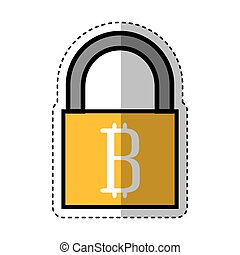 padlock with bitcoin icon