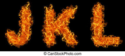 Set of Fire letter J K L on a black background
