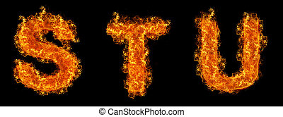 Set of Fire letter S T U on a black background