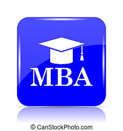 MBA icon, blue website button on white background.
