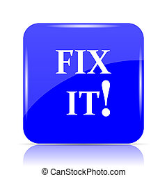 Fix it icon, blue website button on white background.