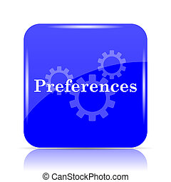 Preferences icon, blue website button on white background.