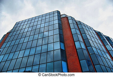 Blue Glass and Redbrick - Modern office building featuring...