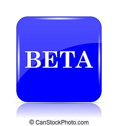 Beta icon, blue website button on white background.