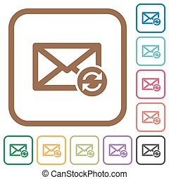 Syncronize mails simple icons in color rounded square frames...