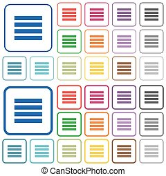 Text align justify outlined flat color icons - Text align...