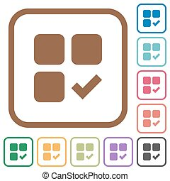 Component ok simple icons in color rounded square frames on...