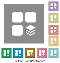 Multiple components square flat icons - Multiple components...