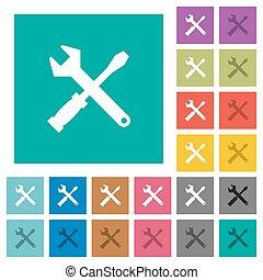 Tool kit square flat multi colored icons - Tool kit multi...