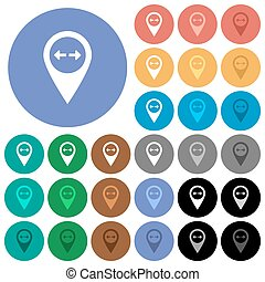 GPS map location distance round flat multi colored icons -...