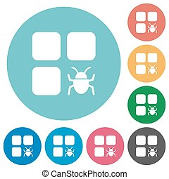 Component bug flat round icons - Component bug flat white...