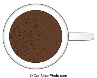 Hot Chocolate Mug With Chocolate Sprinkles - Top view of a...
