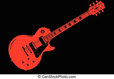 Red Guitar On Black - A classic red electric solid body...