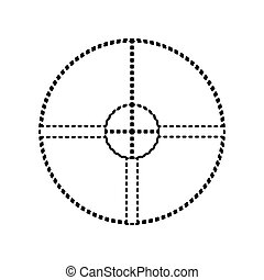 Sight sign illustration. Vector. Black dashed icon on white background. Isolated.