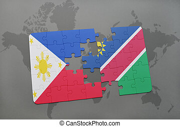 puzzle with the national flag of philippines and namibia on...