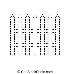 Fence simple sign. Vector. Black dashed icon on white background. Isolated.