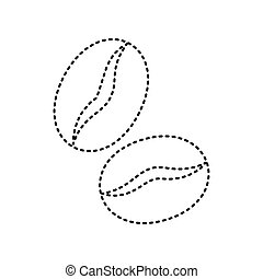 Coffee beans sign. Vector. Black dashed icon on white...