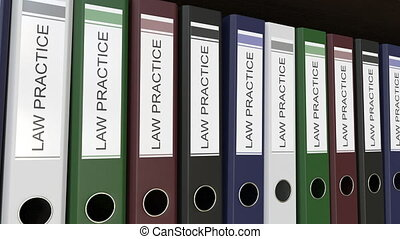 Office binders with Law practice tags - Line of multicolor...